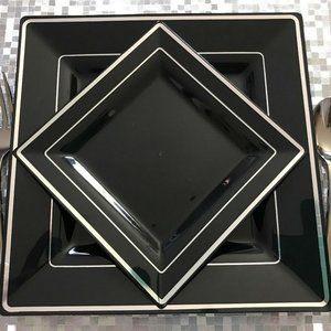 Disposable Plastic Plates Black silver 30 Packs